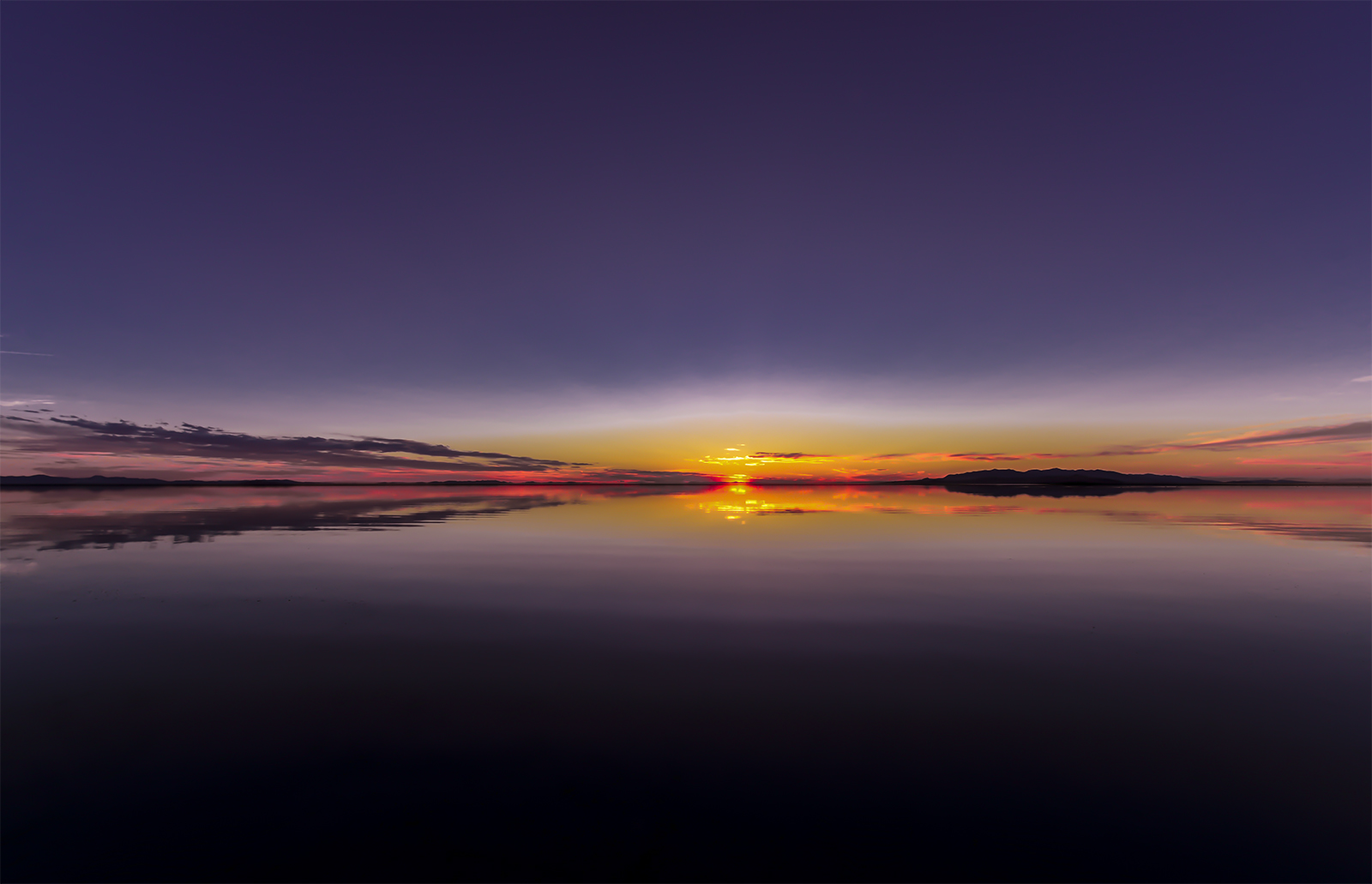 Sunset flash over the Great Salt Lake.